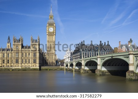 View of Big Ben and Houses of Parliament, London, UK - stock photo