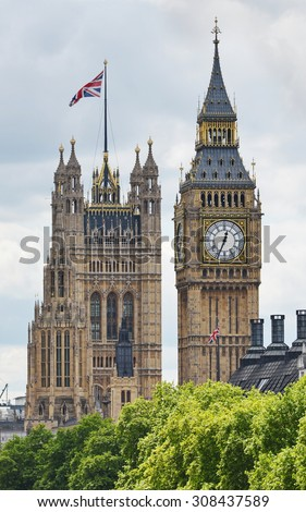 View of Big Ben and the Houses of Parliament in London England - stock photo