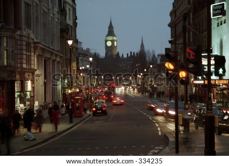view of Big Ben from Trafalgar Square in London - stock photo