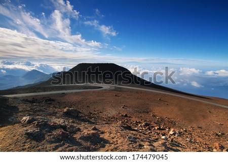 View of Big island at background from summit of Haleakala volcano in Maui island, Hawaii - stock photo