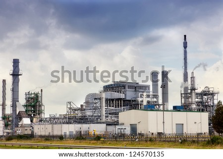 View of big oil refinery of a sky background - stock photo