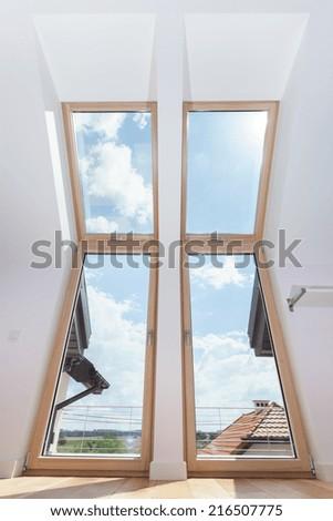 View of big terrace doors with roof windows - stock photo