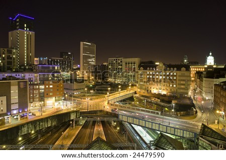 view of birmingham city at night