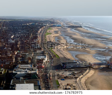 View of Blackpool from the tower - stock photo