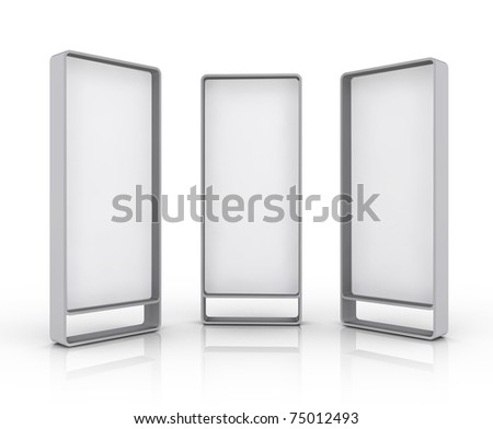View of blank vertical billboards advertising, construction, illustration on white background - stock photo