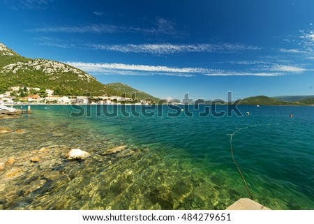 View of blue Adriatic sea coast on beautiful summer day
