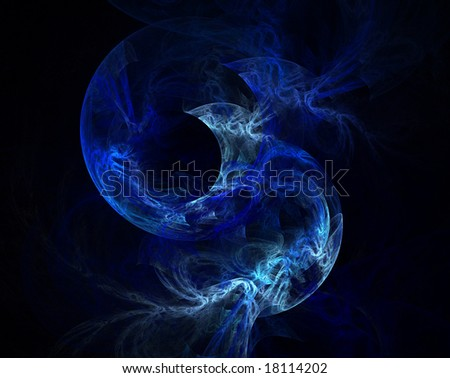 View of blue moon in fractal form