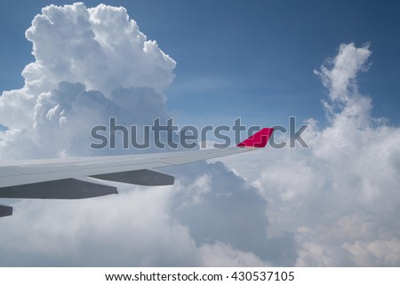 View of blue sky and clouds from airplane window, flying over Vietnam. Blue sky background and cloud view from window of the airplane. Beautiful background of airplane wing with blue sky and clouds.