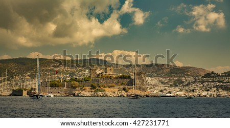View of Bodrum Castle on Turkish Riviera. - stock photo