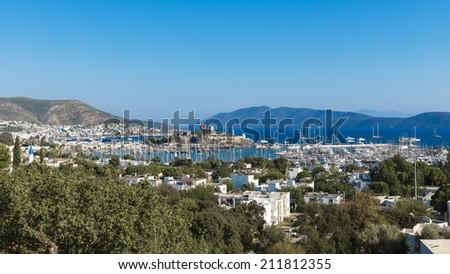 View of Bodrum harbor,Turkish Riviera.  - stock photo