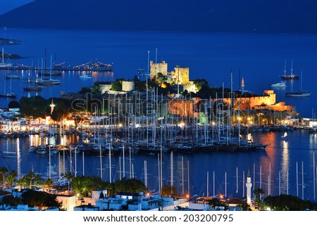 View of Bodrum marina by night. Turkish Riviera. - stock photo