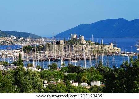View of Bodrum marina on Turkish Riviera. - stock photo