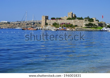 View of Bodrum old town on Turkish Riviera. - stock photo
