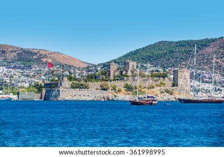 View of Bodrum on Turkish Riviera. - stock photo