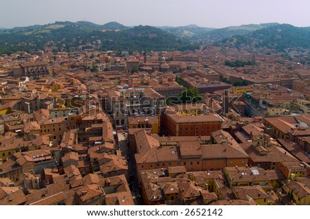 View of Bologna rooftops. - stock photo