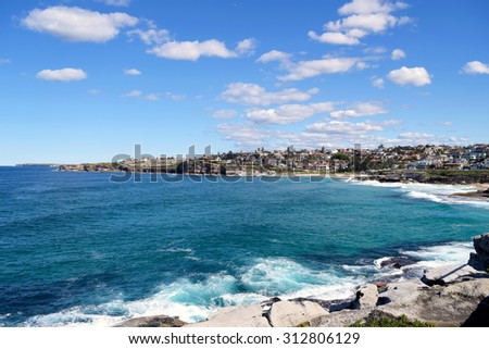 View of Bondi Beach coastline in Sydney, Australia. - stock photo