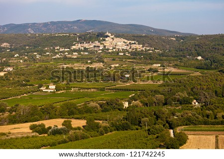 View of Bonnieux from Lacoste, Vaucluse, Provence, France
