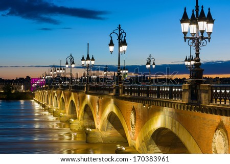 View of Bordeaux at a summer night - stock photo