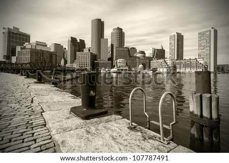 View of Boston Harbor in Massachusetts in Sepia Tone. - stock photo