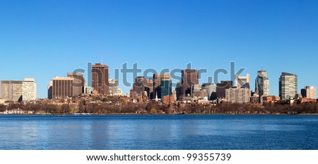 View of Boston in Massachusetts, USA on a very sunny spring day.