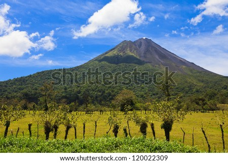 View of both the active and inactive side of Arenal Volcano, Costa Rica. - stock photo