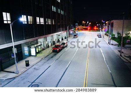 View of Boulevard of the Allies at night, in Pittsburgh, Pennsylvania. - stock photo