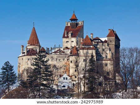 View of Bran Castle (also know as Dracula's Castle) in winter - stock photo