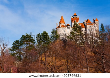 View of Bran Castle from hilltop in Transylvania