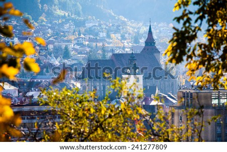 View of Brasov old city known as Kronstadt located in the central part of Romania - stock photo