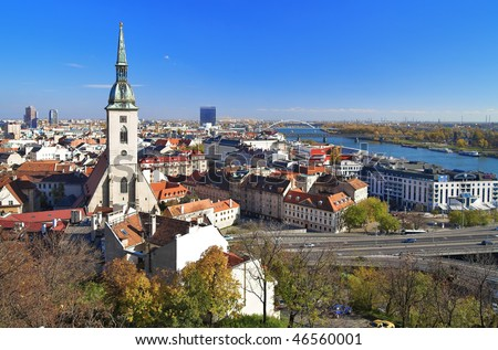 View of Bratislava and the Cathedral of St. Martin from Bratislava Castle, Slovakia - stock photo