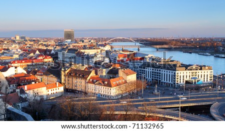 View of Bratislava from castle - stock photo