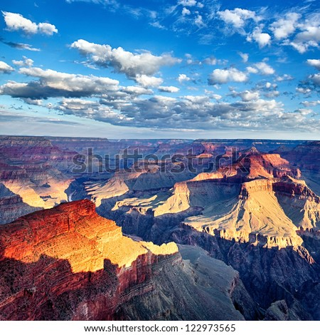 view of breathtaking Grand Canyon at sunrise, USA - stock photo
