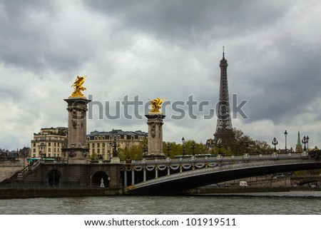 View of bridge Alexander III and Eiffel tower in Paris