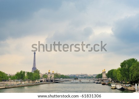 View of bridge Alexander III and Eiffel tower in Paris - stock photo