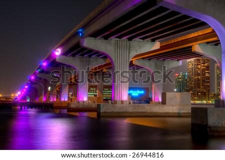 View of bridge in Biscayne bay, Miami. Florida. - stock photo
