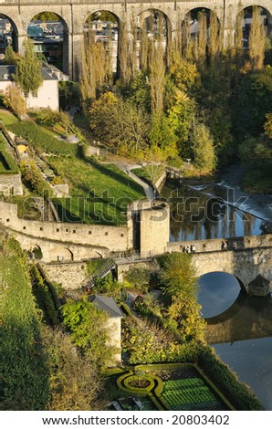 View of bridge in center of Luxembourg in autumn - stock photo