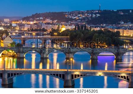 view of Bridges on Vltava, Prague at dusk, Czech Republic - stock photo