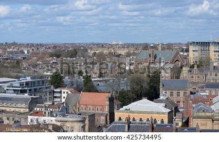 View of Bristol Skyline from Cabot Tower - stock photo