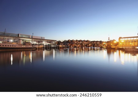 View of Bristol, UK, by the harbour. - stock photo