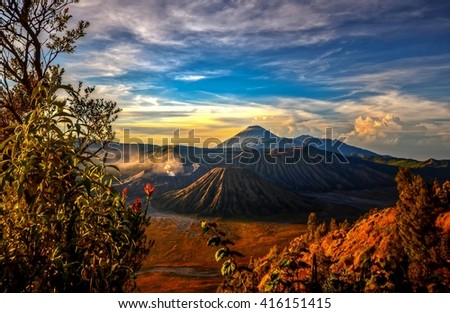 View of Bromo volcano during sunrise, Tengger Semeru National Park, East Java, Indonesia.  - stock photo