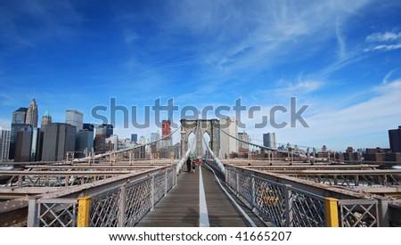 view of brooklyn bridge - stock photo