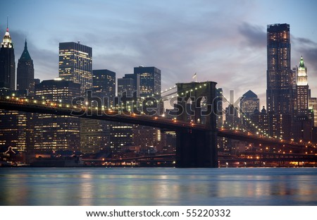 View of Brooklyn Bridge and Manhattan at night