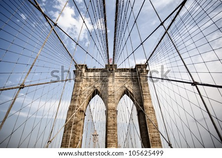 View of Brooklyn bridge in New York city - stock photo