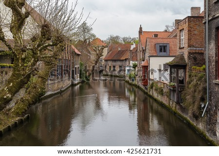View of Bruges canal with historic houses, Belgium - stock photo