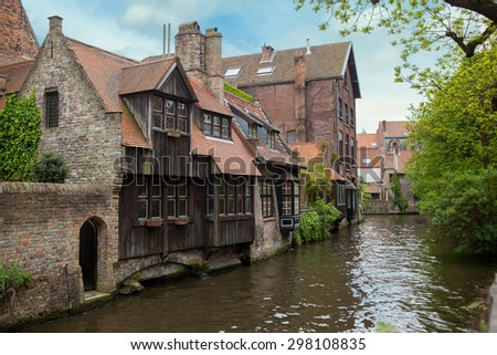 View of Bruges, old city in Belgium - stock photo