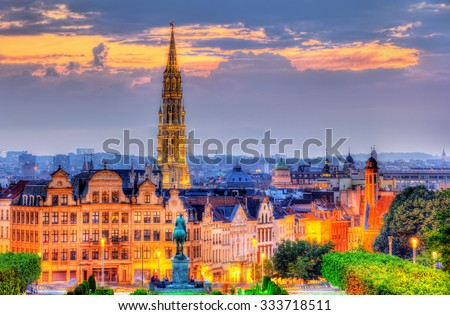View of Brussels city center - Belgium - stock photo