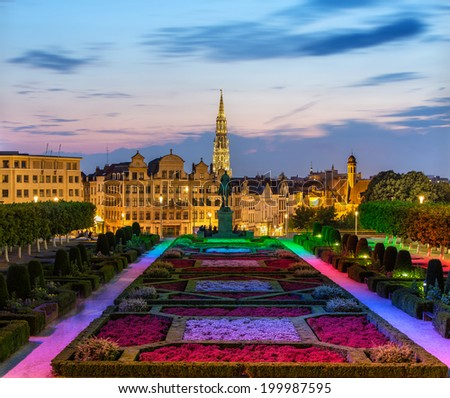 View of Brussels city center in the evening - stock photo
