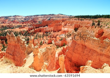 view of Bryce Canyon bright red ground