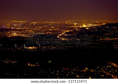 View of Budapest from above at night - stock photo