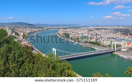 View of Budapest from Gellert Hill, Hungary. The image shows: Buda Castle, Danube with Elisabeth Bridge, Szechenyi Bridge and Margaret Bridge, Hungarian Parliament Building and St. Stephen's Basilica. - stock photo